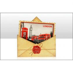 London B&W Red Telephone Postcard Wood Magnet
