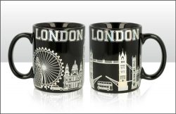 London Skyline Metallic Silver and Black Mug