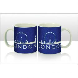 London Skyline Blue Glitter Mug 11oz