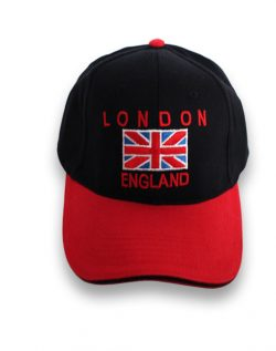 Baseball Cap London Flag England Blk & Red
