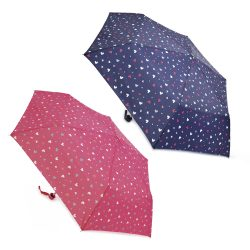 2 ASSORTED MINI UMBRELLAS WITH HEARTS