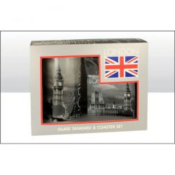 London Big Ben B&W Glass Tankard and Coaster Set