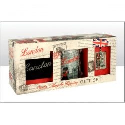 BW Red London Montage Socks Mug & Keyring Set