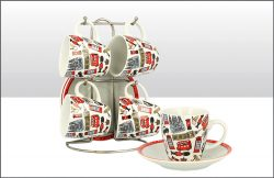 Lovable London Cup & Saucer Set of 4
