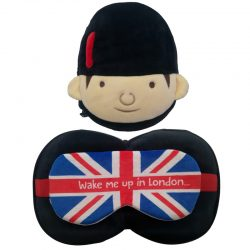 Plush Guardsman Round Travel Pillow & Eye Mask