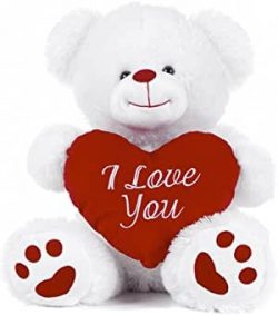 20cm White Bear with Heart